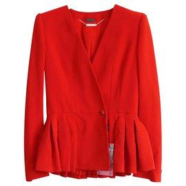 Alexander Mcqueen-Resort '15 Peplum Hem Jacket-Red
