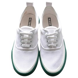Céline-180° Lace Up Canvas Sneakers-White