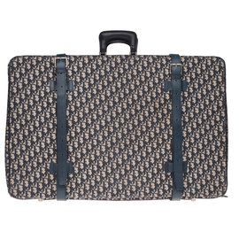 Christian Dior-Vintage Christian Dior suitcase in oblique monogram canvas and blue leather-Blue
