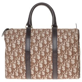 "Christian Dior-Christian Dior ""Boston"" bowling bag in oblique monogram Dior canvas and brown leather-Brown"