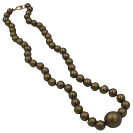 Chanel-Chanel necklace in fake pearls-Khaki