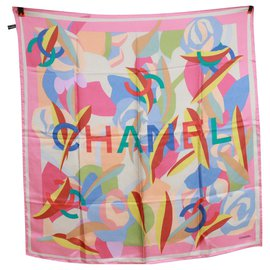 Chanel-Chanel silk scarf.-Multiple colors