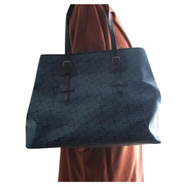 Céline-Coated canvas tote.-Blue