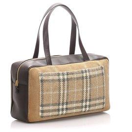 Burberry-Burberry Black House Check Leather Shoulder Bag-Brown,Black