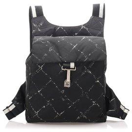 Chanel-Chanel Black Old Travel Nylon Backpack-Black,White