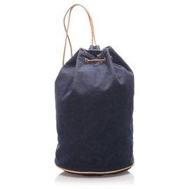 Hermès-Hermes Blue Canvas Polochon Mimile-Brown,Blue,Light brown