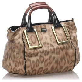Chloé-Chloe Brown Leopard Print Leather Ethel Satchel-Brown,Multiple colors,Beige