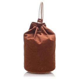 Hermès-Hermes Brown Canvas Polochon Mimile-Brown