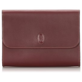 Cartier-Cartier Pochette Rouge En Cuir Must de Cartier-Rouge,Bordeaux