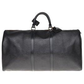 Louis Vuitton-Sac de voyage Louis Vuitton Keepall 50 en cuir épi noir en très bel état-Noir