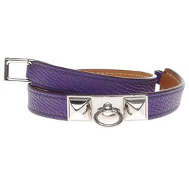Hermès-Superb Hermès Kelly lined lap bracelet in purple epsom leather, palladium silver metal trim-Purple