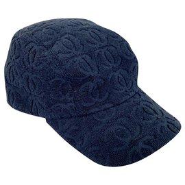 Chanel-Chanel CC cotton cap-Navy blue