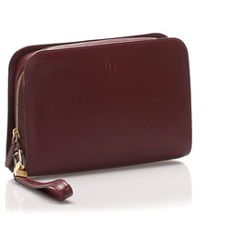 Cartier-Pochette en cuir rouge Cartier Must de Cartier-Rouge,Bordeaux