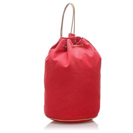 Hermès-Hermes Red Canvas Polochon Mimile-Brown,Red
