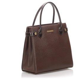 Burberry-Burberry Brown Leather Handbag-Brown,Dark brown