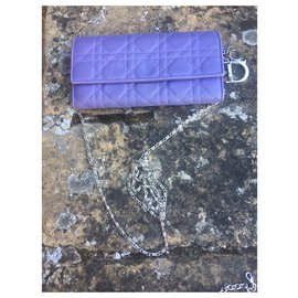 Christian Dior-Lady Dior Lilac cannage leather wallet clutch-Purple