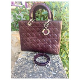 Christian Dior-Lady Dior GM wine leather-Purple