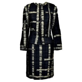 Chanel-Skirt suit-Black,Golden