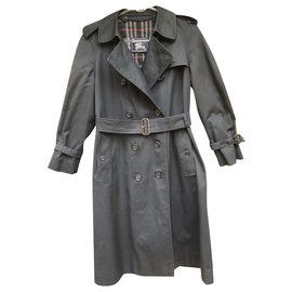 Burberry-womens Burberry vintage t trench coat 36 with removable wool lining-Navy blue