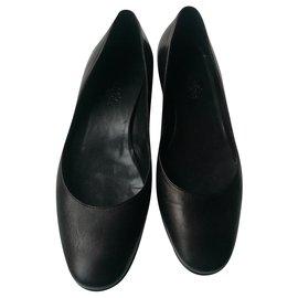 Hermès-HERMES Ballerines cuir noir T38 Compensées-Noir