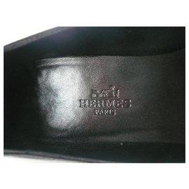 Hermès-HERMES Ballerinas black leather T38 Wedges-Black