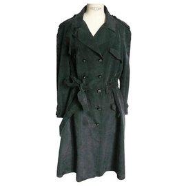Chanel-CHANEL Trench Coat Gabardine washed silk black T46 fr-Black