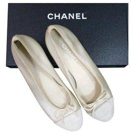 Chanel-Chanel Beige Textile CC Logo Ballet Flats Shoes Sz 40-Beige