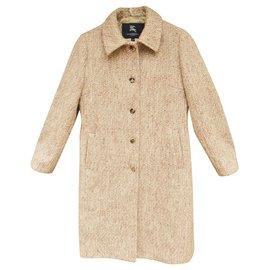 Burberry-Burberry t heathered wool coat 38-Pink,White,Beige