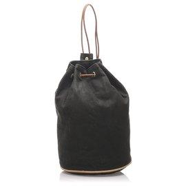 Hermès-Hermes Black Canvas Polochon Mimile-Brown,Black,Beige