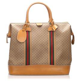 Gucci-Gucci Brown GG Supreme Web Travel Bag-Marron,Beige