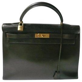 Hermès-HERMES - KELLY LEATHER BOX BROWN 35-Brown