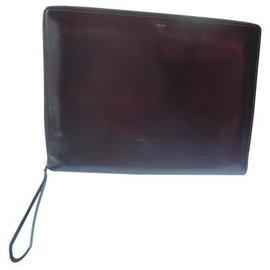 Céline-CELINE Document holder burgundy smooth calf leather BE-Dark red