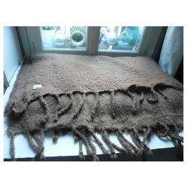 Hermès-HERMES Huge very good condition brown mohair blanket-Brown