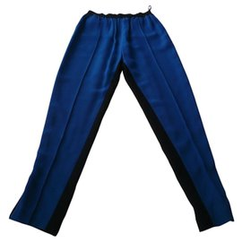 Céline-CELINE - BLUE AND BLACK PANTS T34 neuf-Blue,Dark blue
