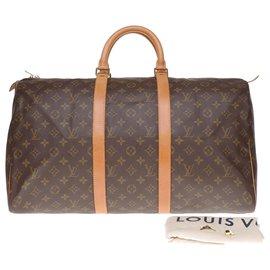 Louis Vuitton-Sac de voyage Louis Vuitton Keepall 50 en toile monogram et cuir de vache naturel en très bel état-Marron