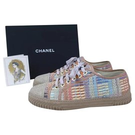 Chanel-CHANEL Logo CC Tweed Lace Up Sneakers Sz.38-Multiple colors