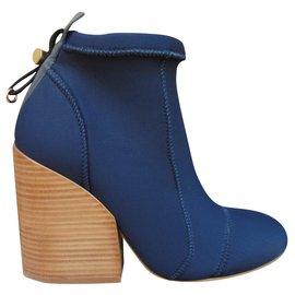 Chloé-Chloé ankle boots in neoprene p 39-Blue