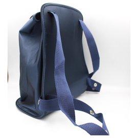 Hermès-Hermès back pack in dark blue nylon.-Blue,Navy blue
