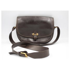 Hermès-Hermes «Balle de Golf» handbag in dark brown leather.-Black