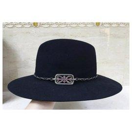 Yves Saint Laurent-Yves Saint Laurent Diamonds Sapphires Felt Hat-Black