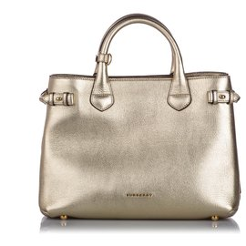 Burberry-Burberry Gold Medium Leather Banner Tote-Golden