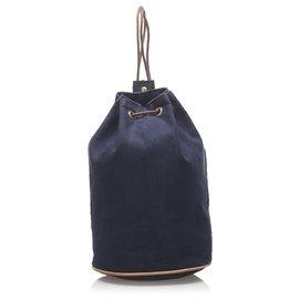 Hermès-Hermes Blue Canvas Polochon Mimile-Brown,Blue,Navy blue