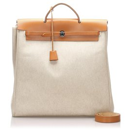 Hermès-Hermes White Canvas Herbag MM Satchel-Brown,White,Cream