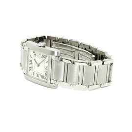 Cartier-TANK FRANCAISE MEDIUM TBE-Argenté
