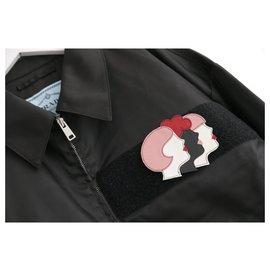 Prada-Details about  Prada SS18 £950 Leather Patch Trim Nylon Gaberdine Bomber Jacket-Black