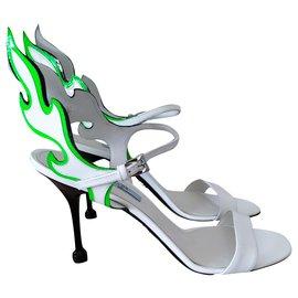 Prada-Flame Prada Sandals-White