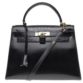 Hermès-Splendid Hermès Kelly 32 saddler with strap in customized black box leather with black crocodile, gold plated metal trim-Black
