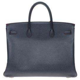 Hermès-Splendid Hermès Birkin 40 in epsom blue navy leather and burgundy edges, gold plated metal trim, in superb condition!-Blue,Dark red
