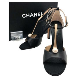 Chanel-Chanel pearl T bar heels shoes sz 38.5-Black