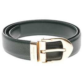 Louis Vuitton-Superb Louis Vuitton belt in green Taiga leather, size 80 , Gold metal buckle, In excellent condition-Green